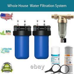 2-stage Big Blue 10 Système De Filtration Maison Entière+stand+carbon +sédiment D'or