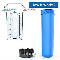 3 Pack 20 Pouces Big Blue Système De Filtration D'eau Maison Entière 1 Port, Avec Support