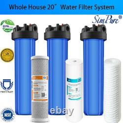 3-stage Big Blue 20 Whole House System 1 Port+, Carbon, Sédiment, Filtres À Cordes