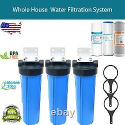 3-stage Big Blue 20 Whole House System 1 Port+, Cto, Sédiments, Filtres Plissés