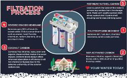 5 Étapes Osmose Inverse Système De Filtration D'eau Potable 100 Gpd + Pompe À Perméat1000