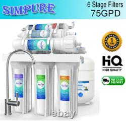 6 Etape 75gpd Système D'osmose Inverse Alkaline Eau Potable Filtre Purificateur Nouveau
