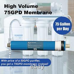 6 Étape Osmose Inverse Alcaline 75gpd Filtre D'eau Système Sous Puits