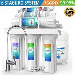 6 Etape Par Osmose Inverse Réseau D'eau Potable Purificateur Sous L'évier + Filtre 75gpd