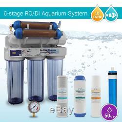 6 Stades 50 Gpd Système D'osmose Inverse Pour Aquarium Ro DI + Hm Tds En Ligne