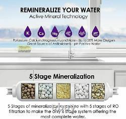 6-stage Sous L'évier Par Osmose Inverse Eau Potable Système De Filtration Alcaline Ph 100g