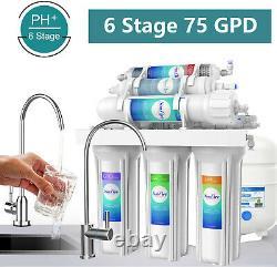 6-stage Sous L'évier Par Osmose Inverse Eau Potable Système De Filtration Alcaline Ph 75g