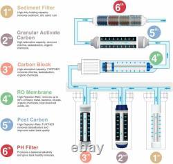 6stage Undersink Reverse Osmosis Ro System Filtre À Eau Potable 75g Alkaline Ph