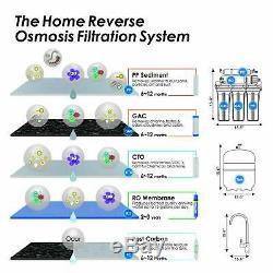 75gpd Système D'osmose Inverse Ro Waterfilter Undersink Filtration D'eau Potable
