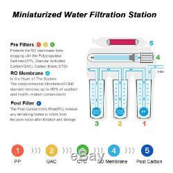 75gpdwater Système De Filtration Nsf 5stage Ro Purificateur D'eau Robinet Réservoir Sous L'évier