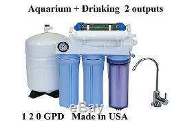 Aquarium Boire 120gpd Osmose Inverse Et Système De Filtrage De L'eau USA Fabriqué 125