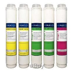 Bleu Pur H2o Filtre 5pc Osmose Inverse Remplacement Du Système De Filtre Filtres Nouveau
