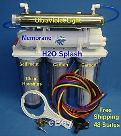Filtre À Eau De Système D'osmose Inverse À 7 Étages 75gpd Ro + DI + Uv / Clear H2o Splash