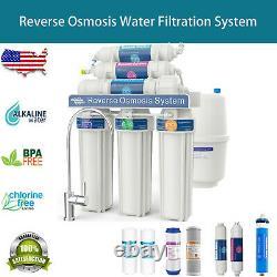 Filtre D'eau Du Système Ro À Osmose Inverse 6 Étapes Avec Filtre Alkaline 100gpd Nsf