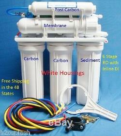 Filtre D'eau Potable Blanc Du Système D'osmose Inverse À 6 Étages Ro + DI Nt 24/35 / 50gpd