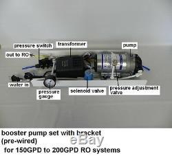 Grand Système D'osmose D'inversion De L'ensemble De La Pompe Auxiliaire 150 200gpd Ro Jusqu'à L'utilisation De Pression
