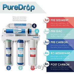 Puredrop 5 Stage Système D'osmose Inverse Eau Potable Ro Avec Filtres Supplémentaires