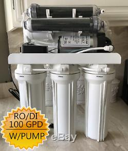 Ro / DI Osmose Inverse Aquarium / Récif Système 7 Étape 100 Gpd Pompe & Filtres