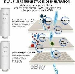 Ro Osmose Inverse Sous L'évier Système De Filtration D'eau 400gpd Rapide Tankless Débit