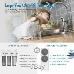 Simpure 400 Gpd Osmose Inverse De Filtration D'eau Système À Débit Rapide, Sans Réservoir