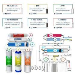 Sous Évier Osmose Inverse Système De Filtration D'eau Potable 6 Étapes Alcaline