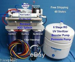 Système D'osmose Inverse 6 Etape 75gpd Ro + Uv Booster / Perméat Effacer Withtank
