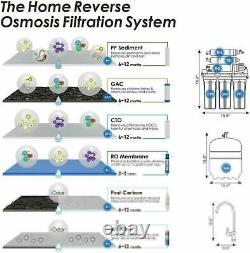 Système D'osmose Inverse 6 Étapes Eau Potable 75g System + Extra 2 An Filter