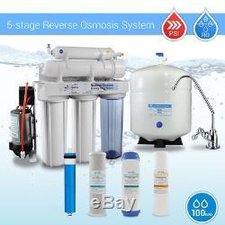 Système D'osmose Inverse Potable Résidentiel À 5 étapes Avec La Pompe De Surpression 100 Gpd