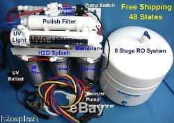 Système D'osmose Inverse Ro 100 / 150gpd 6 Etape DI Uv Booster Pompe Filtre À Eau