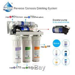 Système D'osmose Inverse Traitement De L'eau 5 Phase Avec Inline Carbone Filtre 10 Pouces Usage Général