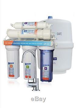 Système De Filtration D'eau À Osmose Inverse Ro 100gpd Undersink À 5 Étages Avec Robinet Ss