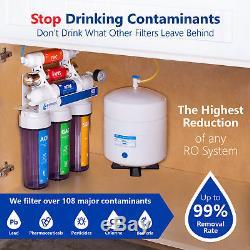 Système De Filtration D'eau Par Osmose Ultraviolette Clair Avec Jauge 100 Gpd