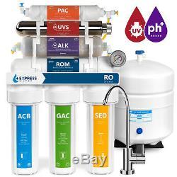 Système De Filtration D'osmose Alcalin Ultraviolet Ro Avec Jauge 100 Gdp