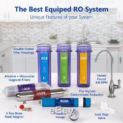 Système De Filtration Par Osmose Alcaline Ultraviolette Clair + Jauge 100 Gdp