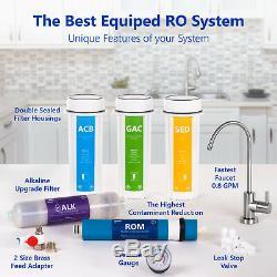 Système Minéral Ro De Système De Filtration D'eau Par Osmose Alcaline Avec Jauge 100 Gpd
