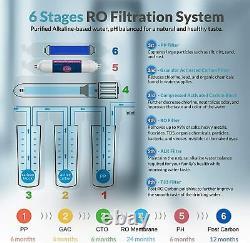 T2-100gpd 6 Étape Alkaline Reverse Osmosis Système De Filtre À Eau Potable Purificateur